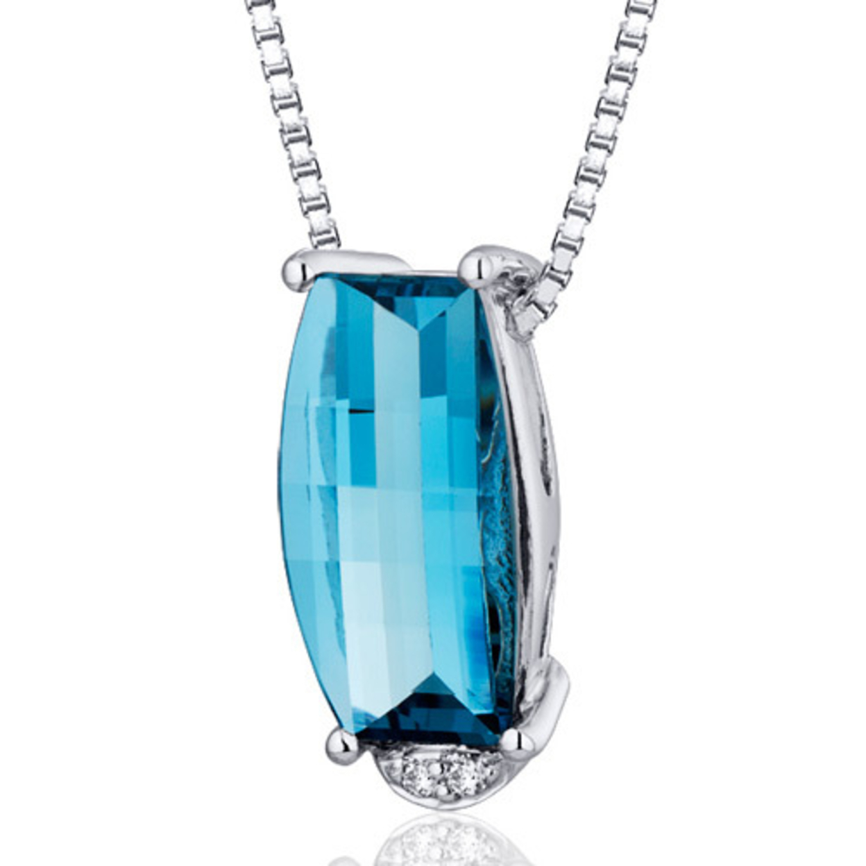 Oravo 2.50 Carat T.g.w. Barrel Cut London Blue Topaz Rhodium Over Sterling Silver Pendant, 18""