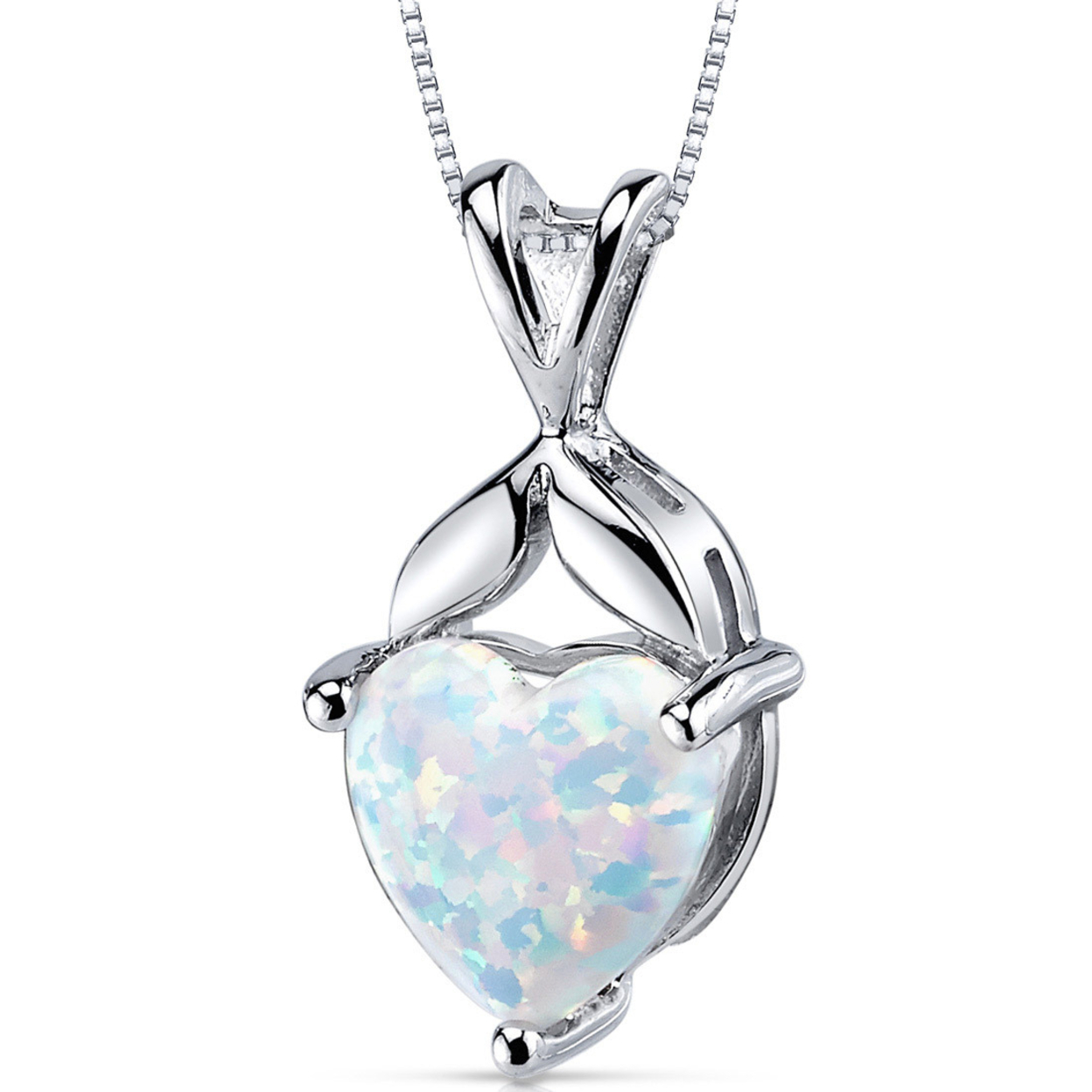 Oravo 2.50 Carat T.g.w. Heart Shape Created Opal Rhodium Over Sterling Silver Pendant, 18""