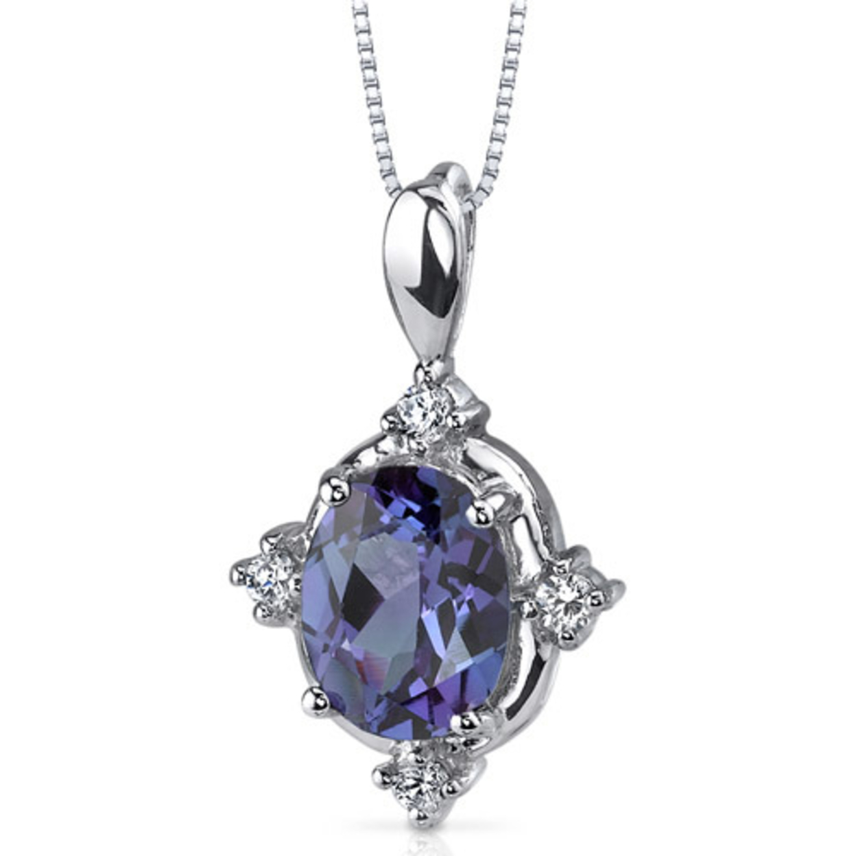 Oravo 2.50 Carat T.g.w. Oval Shape Created Alexandrite Rhodium Over Sterling Silver Pendant, 18""