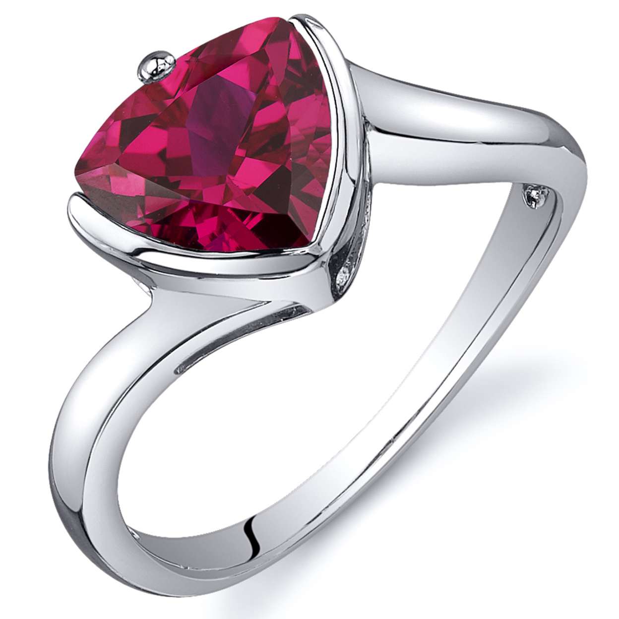 Oravo Rhodium-plated Sterling Silver Trillion Cut Ruby Ring 5