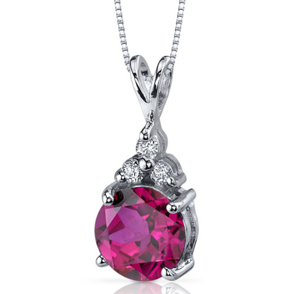 Oravo 2.75 Carat T.g.w. Round Shape Created Ruby Rhodium Over Sterling Silver Pendant, 18""
