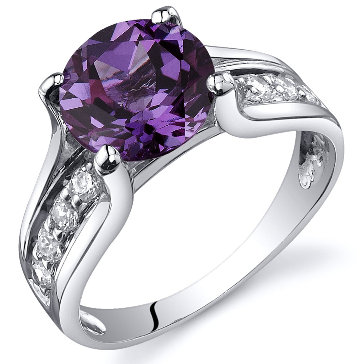 Oravo 2.75 Ct Simulated Alexandrite Solitaire Ring In Rhodium-plated Sterling Silver, Sizes 5-9