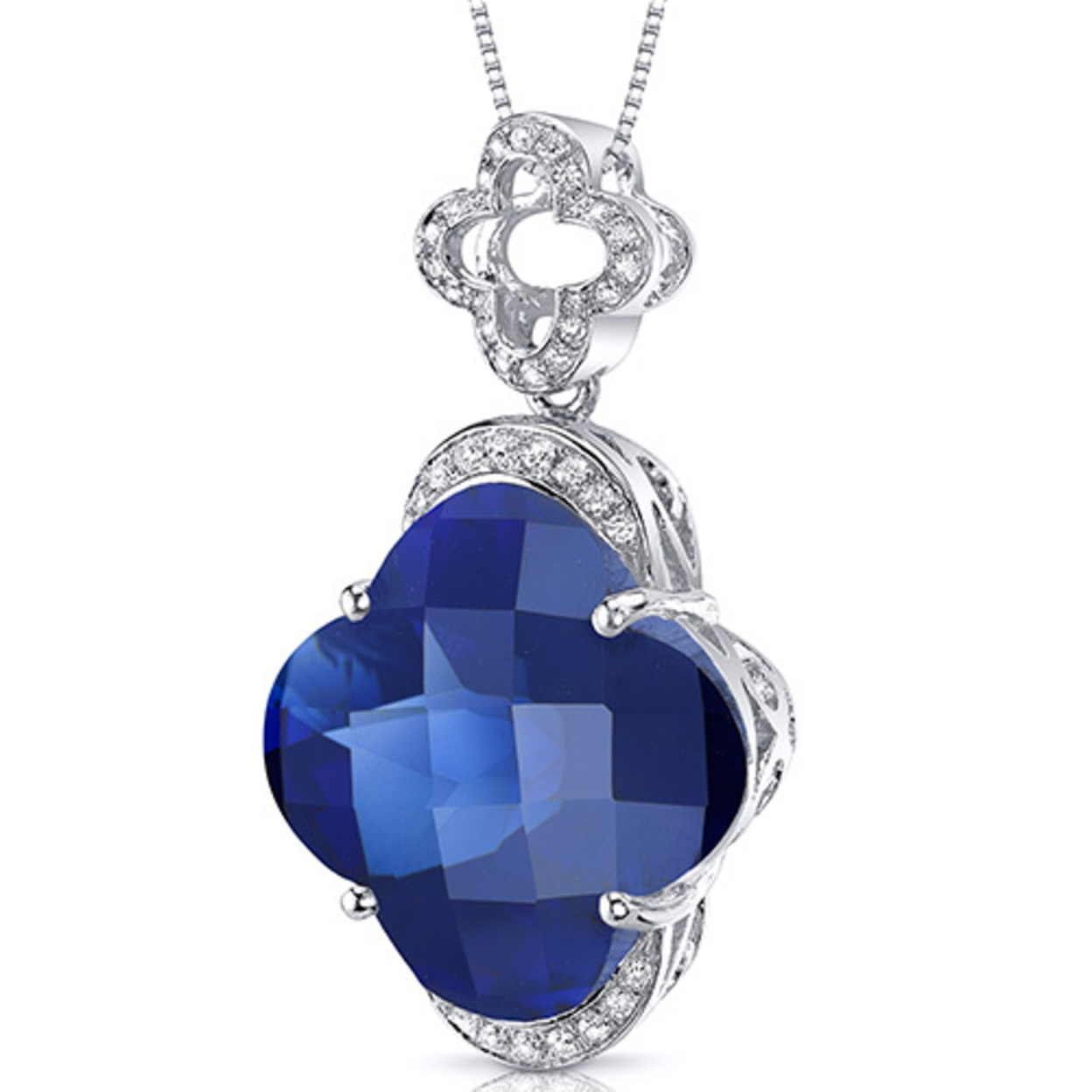 Oravo 21.00 Carat T.g.w. Lilly Cut Created Blue Sapphire Rhodium Over Sterling Silver Pendant, 18""