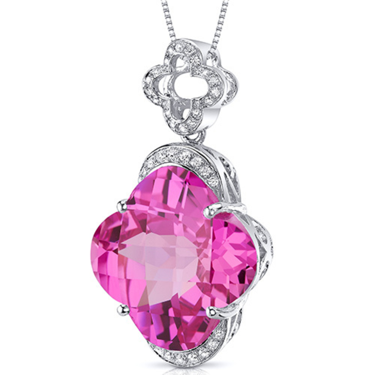 Oravo 22.00 Carat T.g.w. Lilly Cut Created Pink Sapphire Rhodium Over Sterling Silver Pendant, 18""