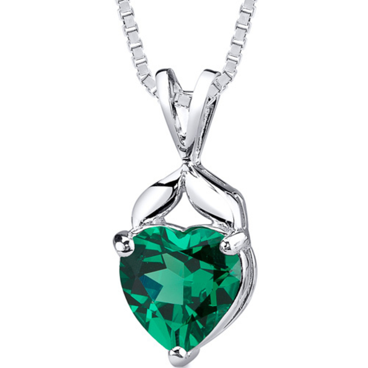 Oravo 3.00 Carat T.g.w. Heart Shape Emerald Rhodium Over Sterling Silver Pendant, 18""