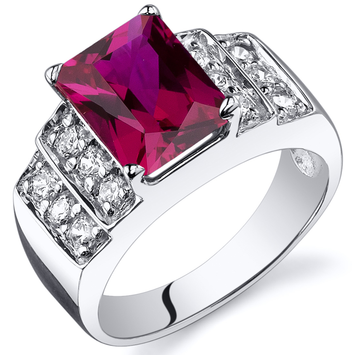 Oravo 3.00 Ct Created Ruby Cubic Zirconia In Rhodium-plated Sterling Silver, Sizes 5-9