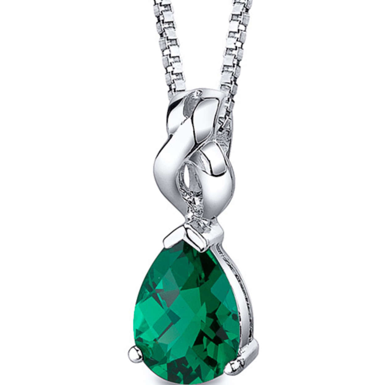 Oravo 3.00 Ct Pear Shape Simulated Emerald Rhodium-plated Sterling Silver Pendant, 18""