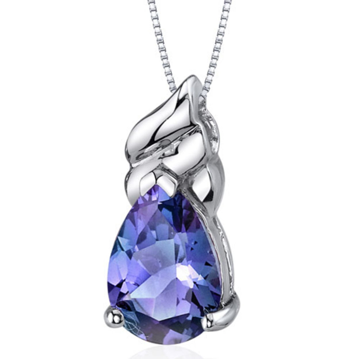 Oravo 3.75 Carat T.g.w. Pear Shape Created Alexandrite Rhodium Over Sterling Silver Pendant, 18""