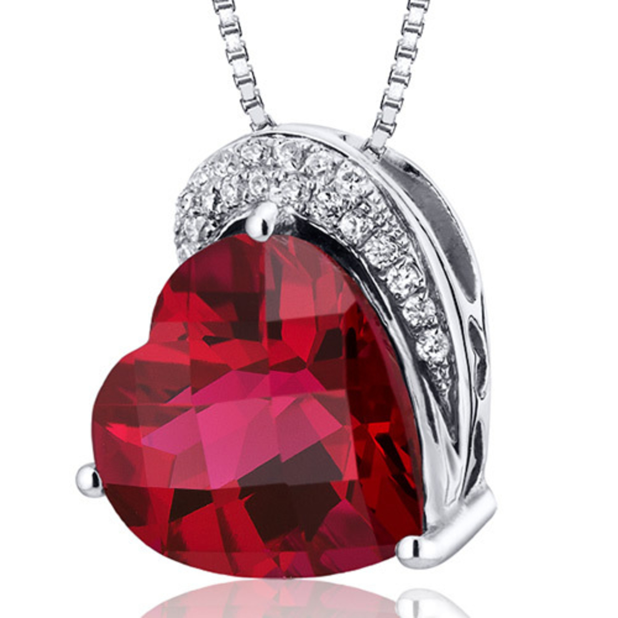 """Oravo 4.50 Carat T.g.w. Heart Cut Created Ruby Rhodium Over Sterling Silver Pendant, 18\"""""""