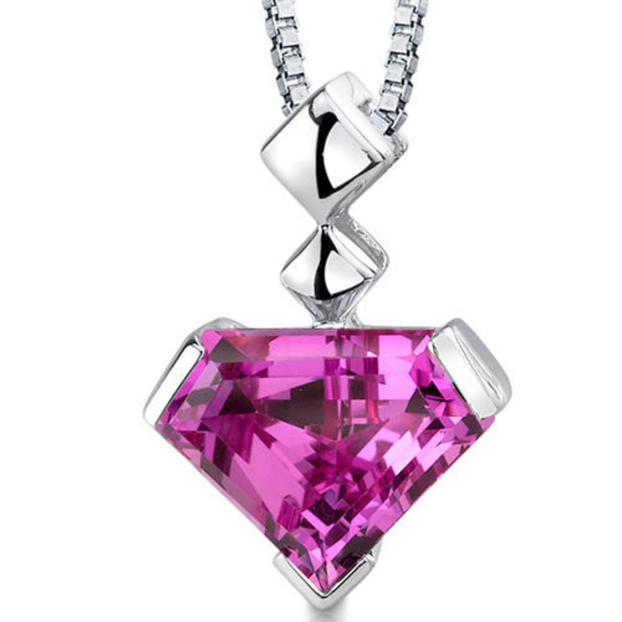 Oravo 14 Karat Yellow Gold Cushion Cut 1.00 Carats Created Pink Sapphire Pendant