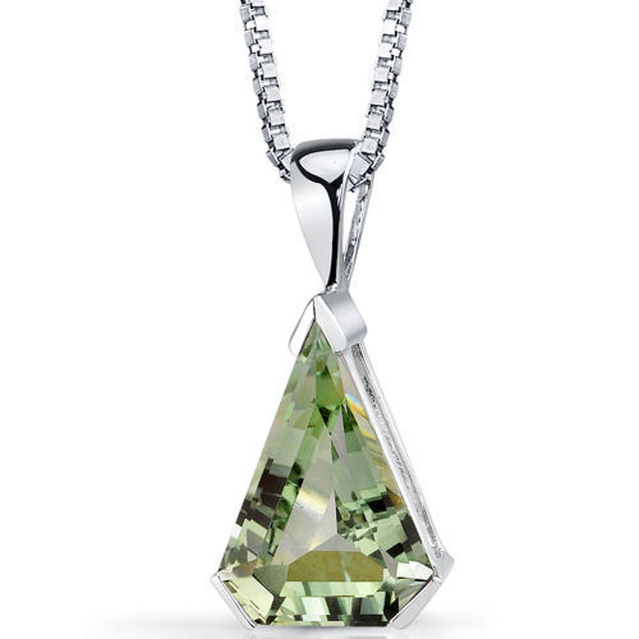 "Oravo 6.75 Carat T.g.w. Chevron Cut Green Amethyst Rhodium Over Sterling Silver Pendant, 18\"""