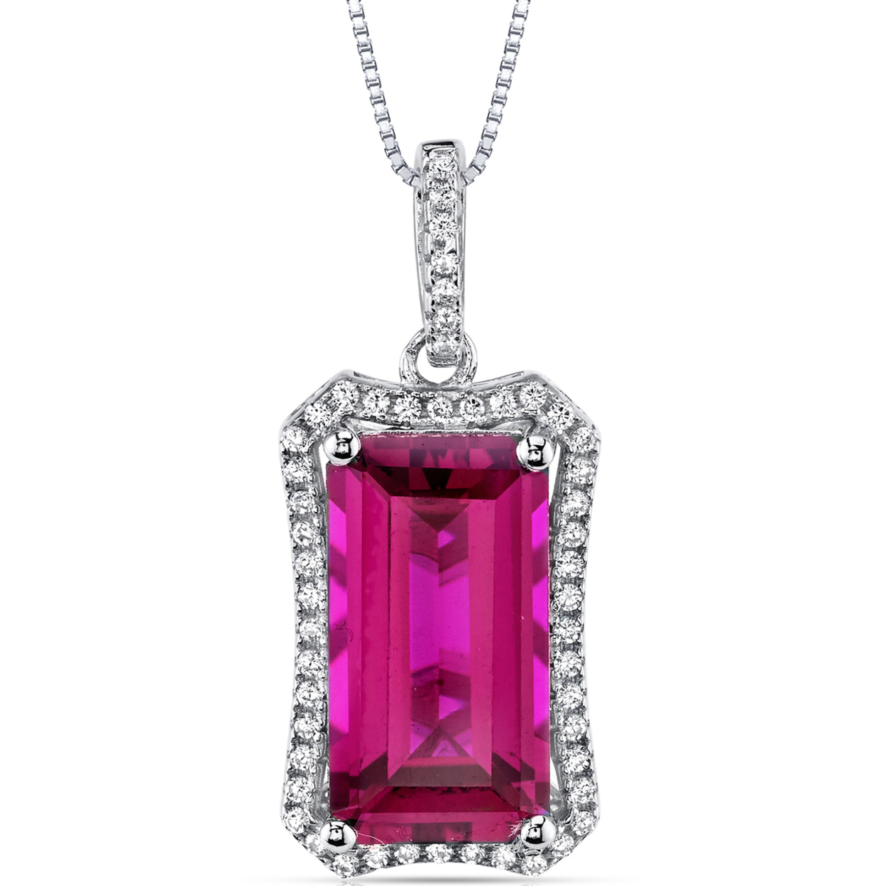 """Oravo 7.50 Carat T.g.w. Octagon Cut Created Ruby Rhodium Over Sterling Silver Pendant, 18\"""""""