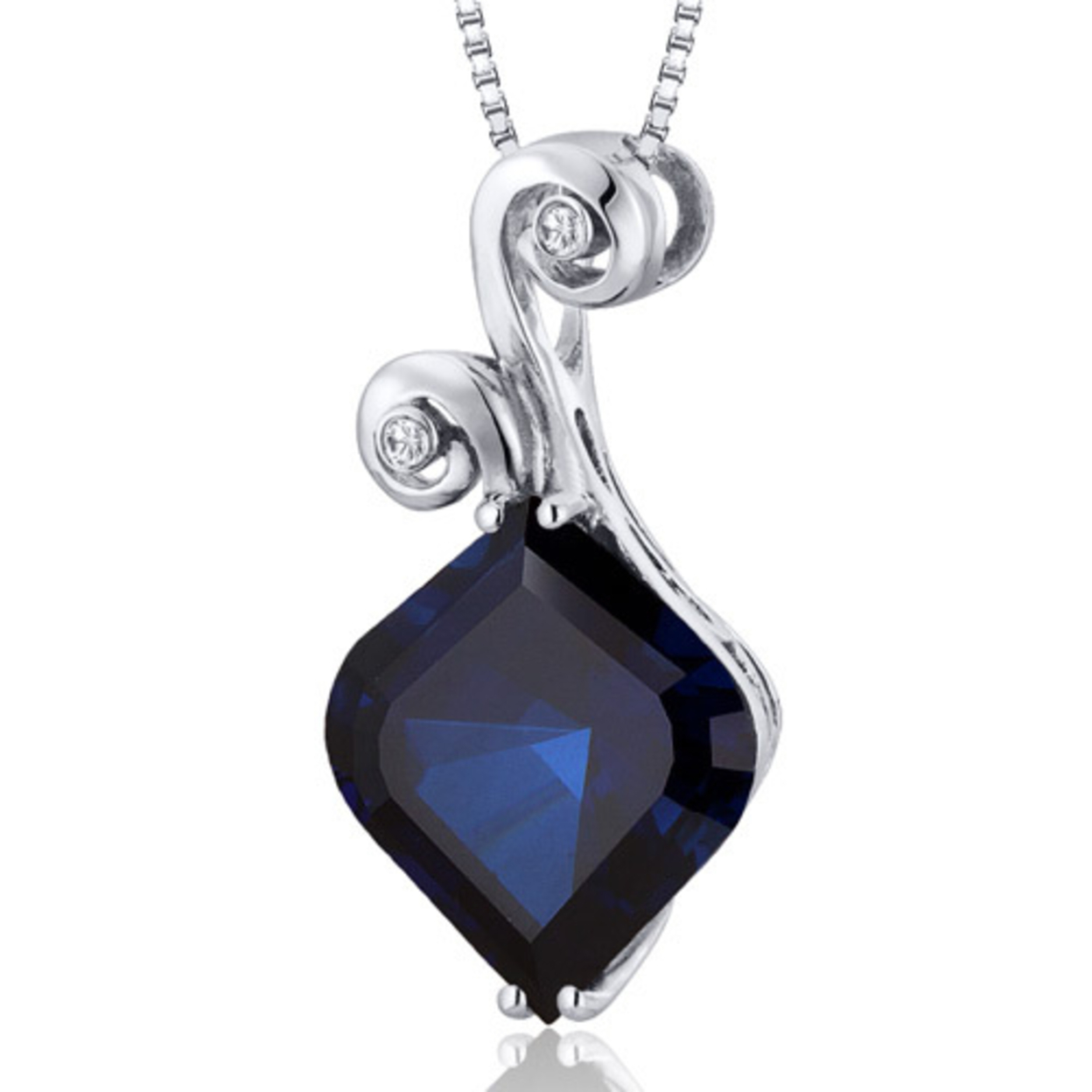 Oravo 8.00 Carat T.g.w. Onion Cut Created Blue Sapphire Rhodium Over Sterling Silver Pendant, 18""
