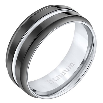 Men's Oravo Titanium  Black Comfort Fit Wedding Band