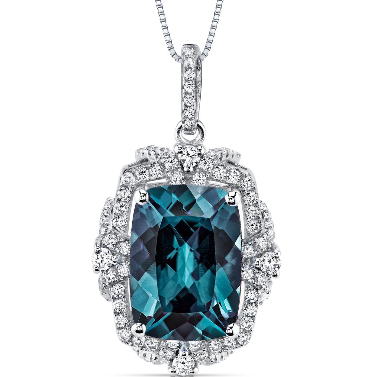 "Oravo 9.00 Carat T.g.w. Cushion Cut Created Alexandrite Rhodium Over Sterling Silver Pendant, 18\"""