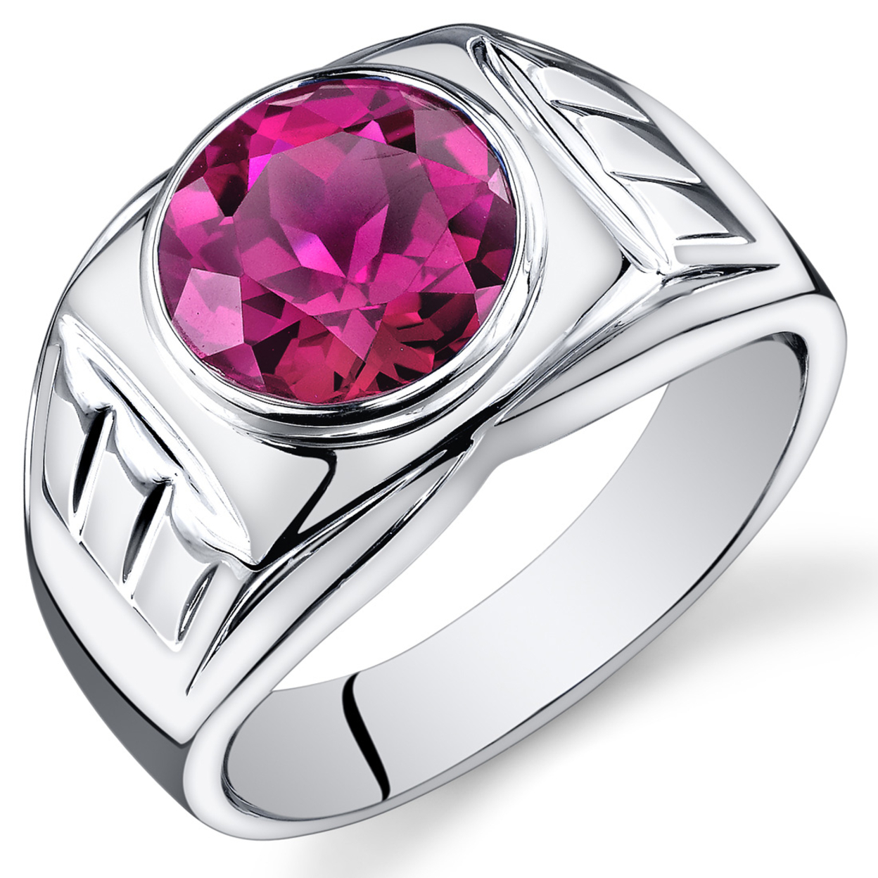 Oravo Mens 5.50 Ct Round Cut Created Ruby Ring In Rhodium-plated Sterling Silver, Sizes 8-13