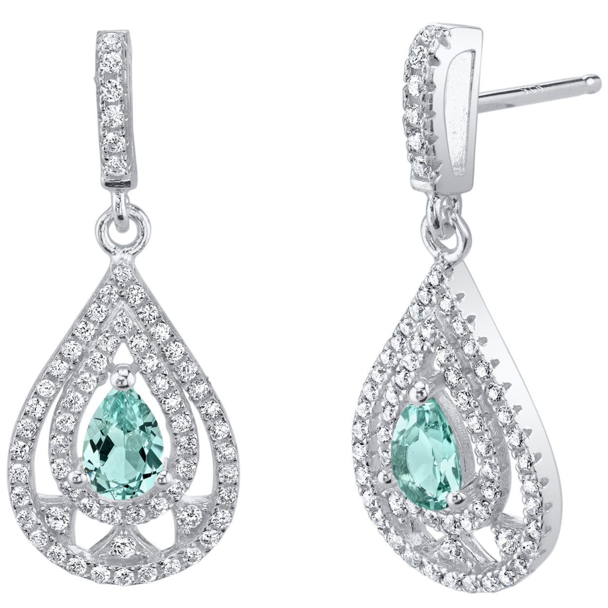 Oravo Simulated Paraiba Tourmaline Sterling Silver Chandelier Earrings