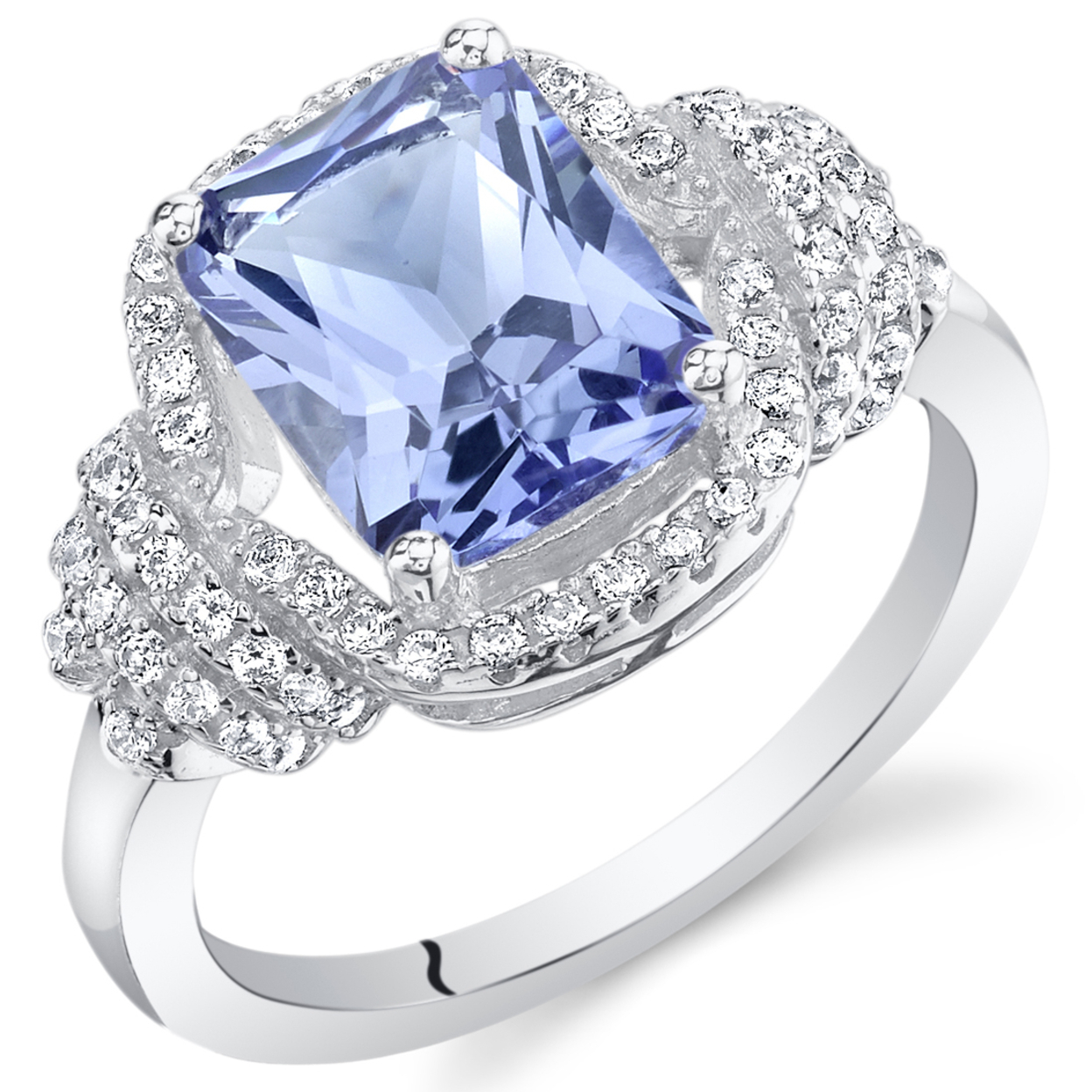 Oravo Simulated Tanzanite Sterling Silver Cocktail Ring