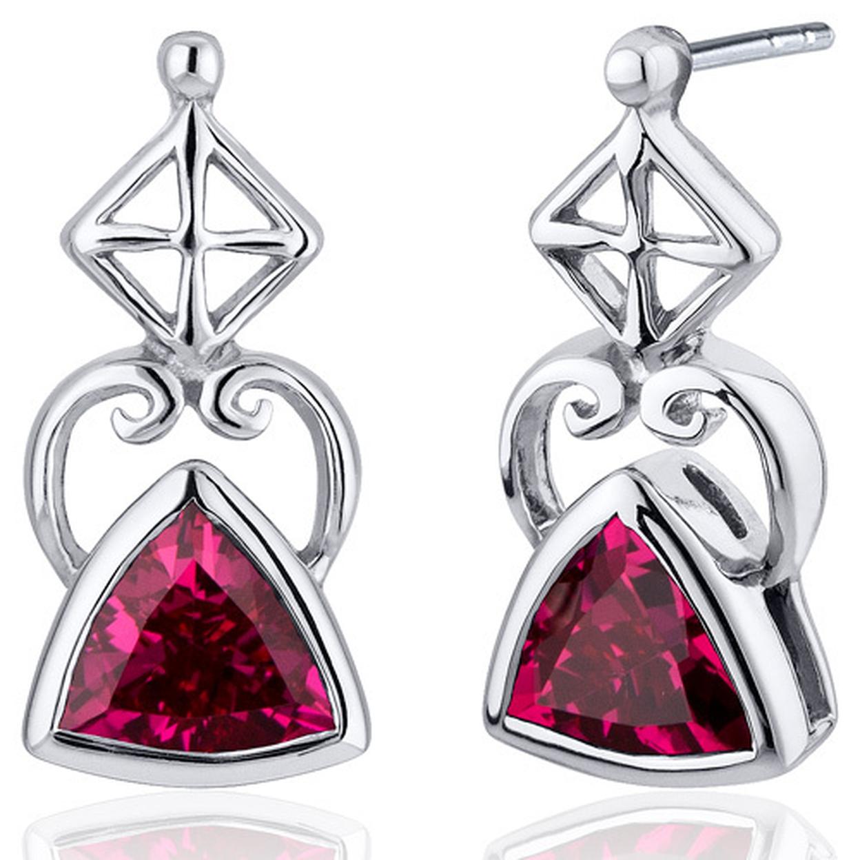 Ornate Class 2.00 Carats Ruby Trillion Cut Earrings In Sterling Silver Style Se7916