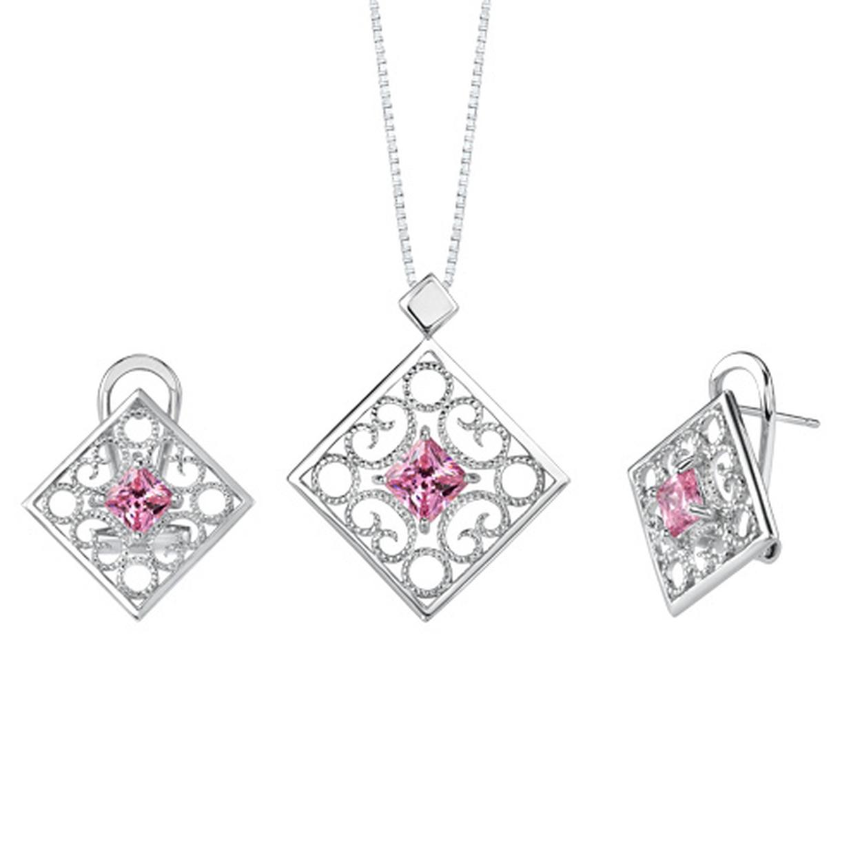 Princess Cut Pink Cubic Zirconia Pendant Earrings Set In Sterling Silver Style Ss2098