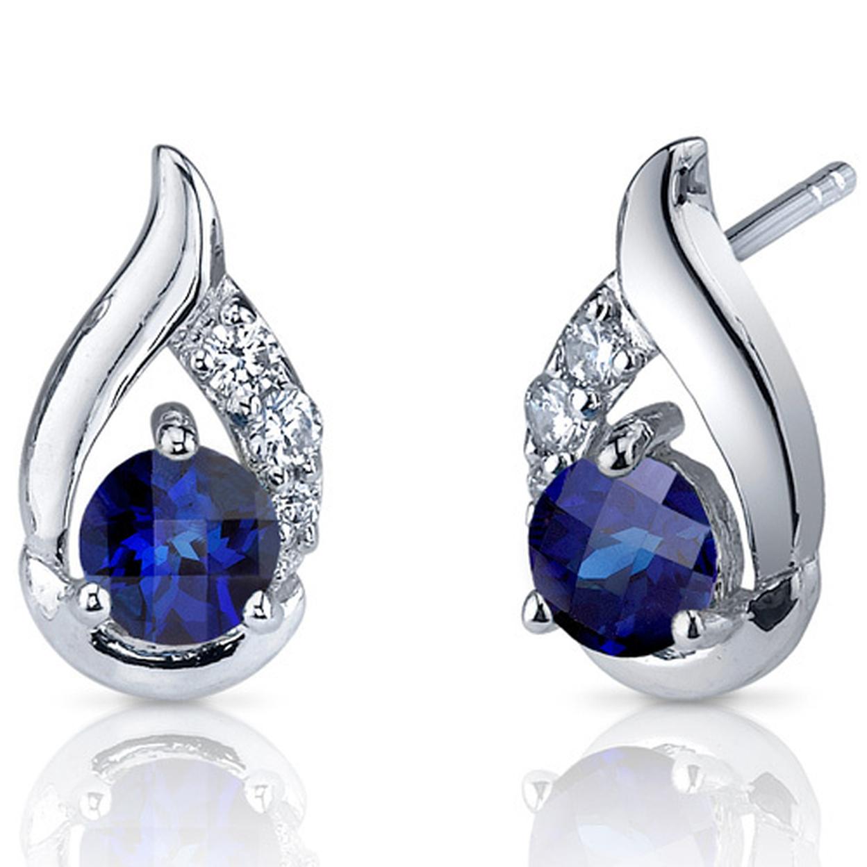 Radiant Teardrop 1.50 Carats Blue Sapphire Round Cut Cz Earrings In Sterling Silver Style Se7324