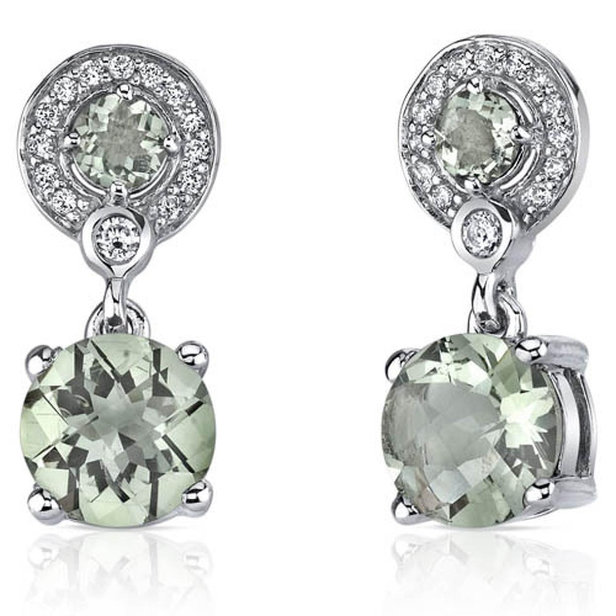 Refined Elegance 3.50 Carats Green Amethyst Dangle Earrings In Sterling Silver Style Se7180