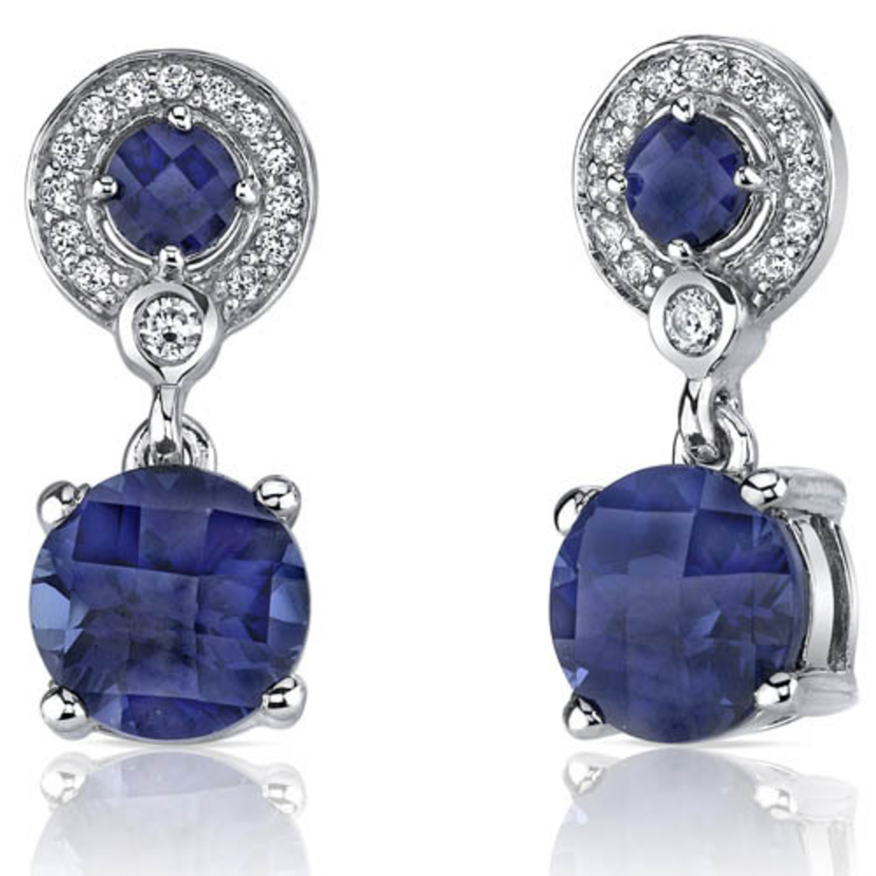 Refined Elegance 6.00 Carats Blue Sapphire Dangle Earrings In Sterling Silver Style Se7178
