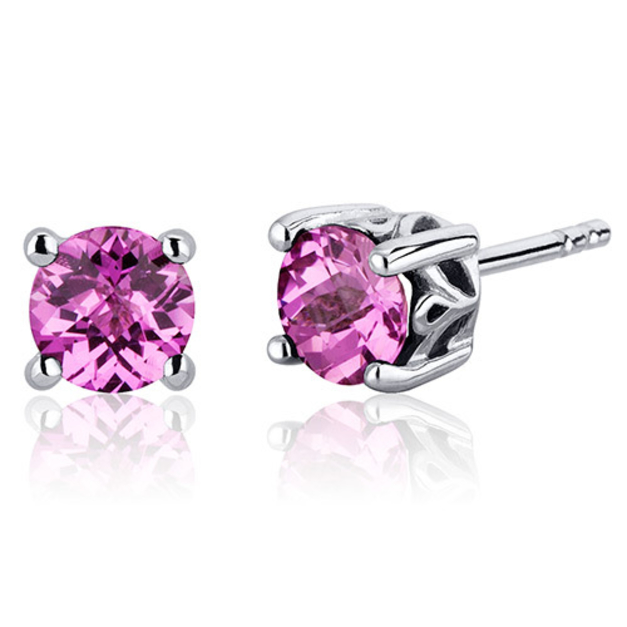 Scroll Design 2.00 Carats Pink Sapphire Round Cut Stud Earrings In Sterling Silver Style Se7956