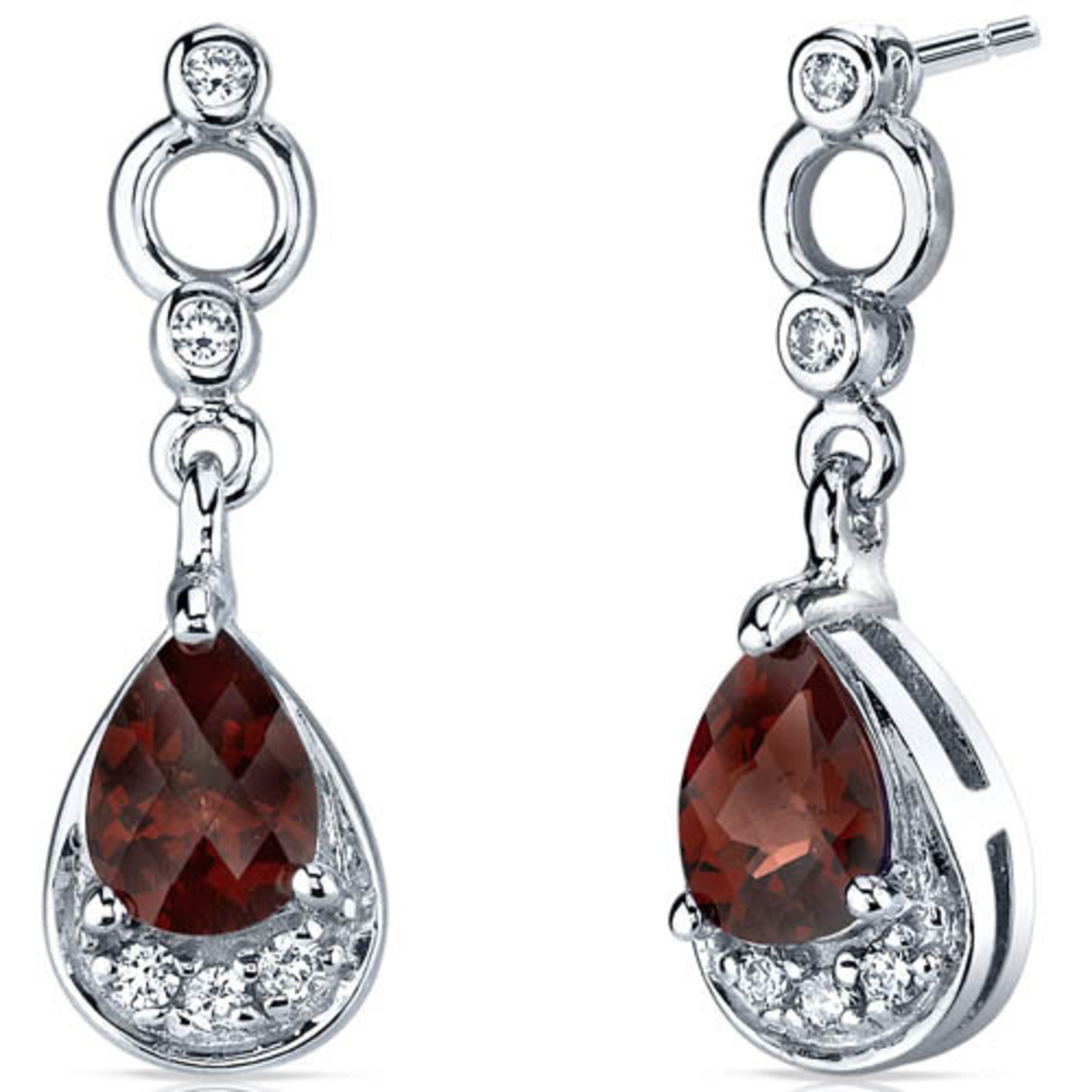 Simply Classy 1.50 Carats Garnet Dangle Earrings In Sterling Silver Style Se7140