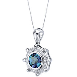 Simulated Alexandrite Sterling Silver Nautica Pendant Necklace 2.50 Carats