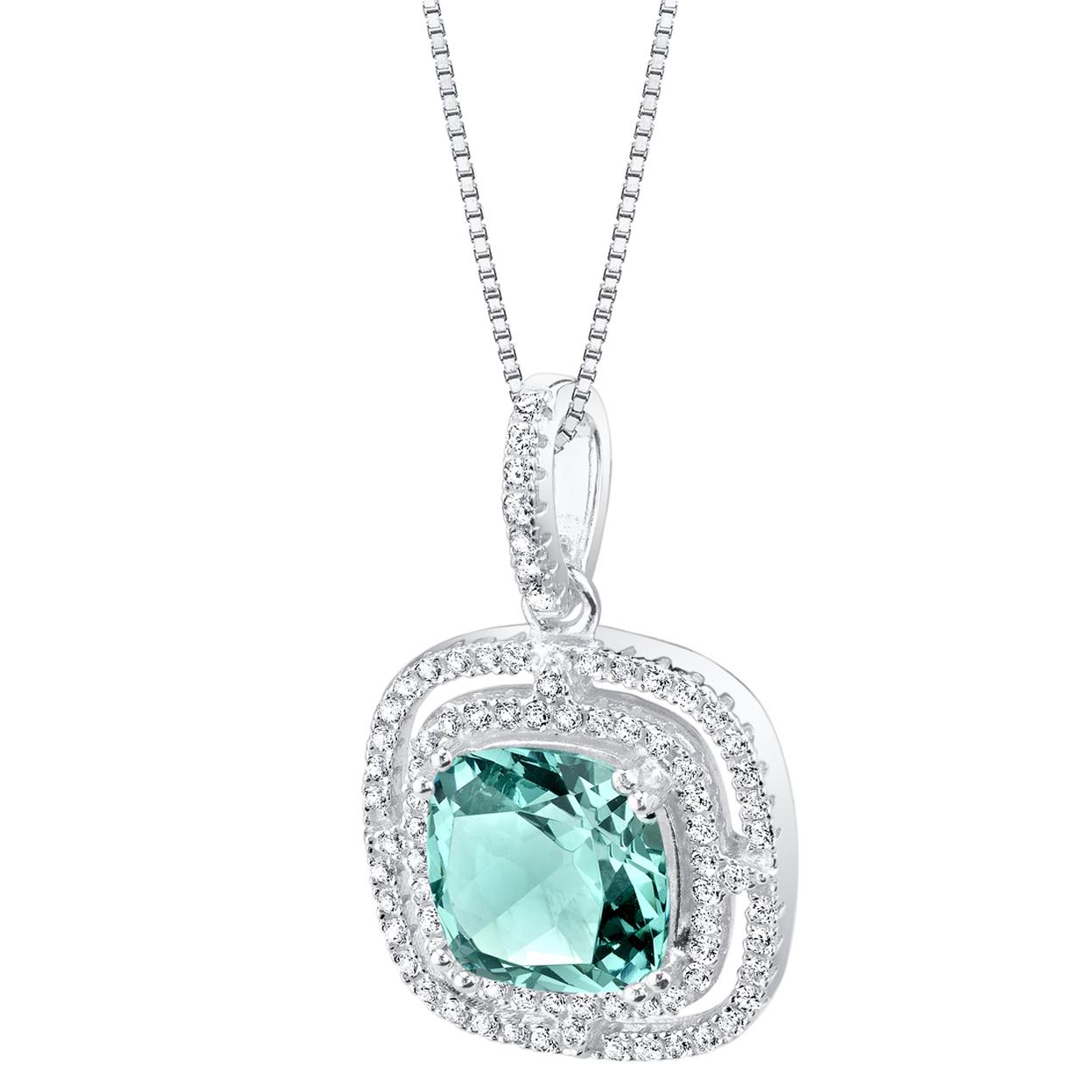 Simulated Paraiba Tourmaline Sterling Silver Glisten Pendant Necklace