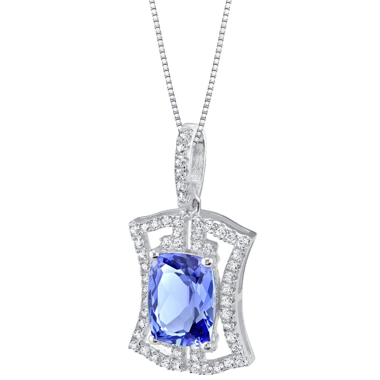 Simulated Tanzanite Sterling Silver Art Deco Pendant Necklace