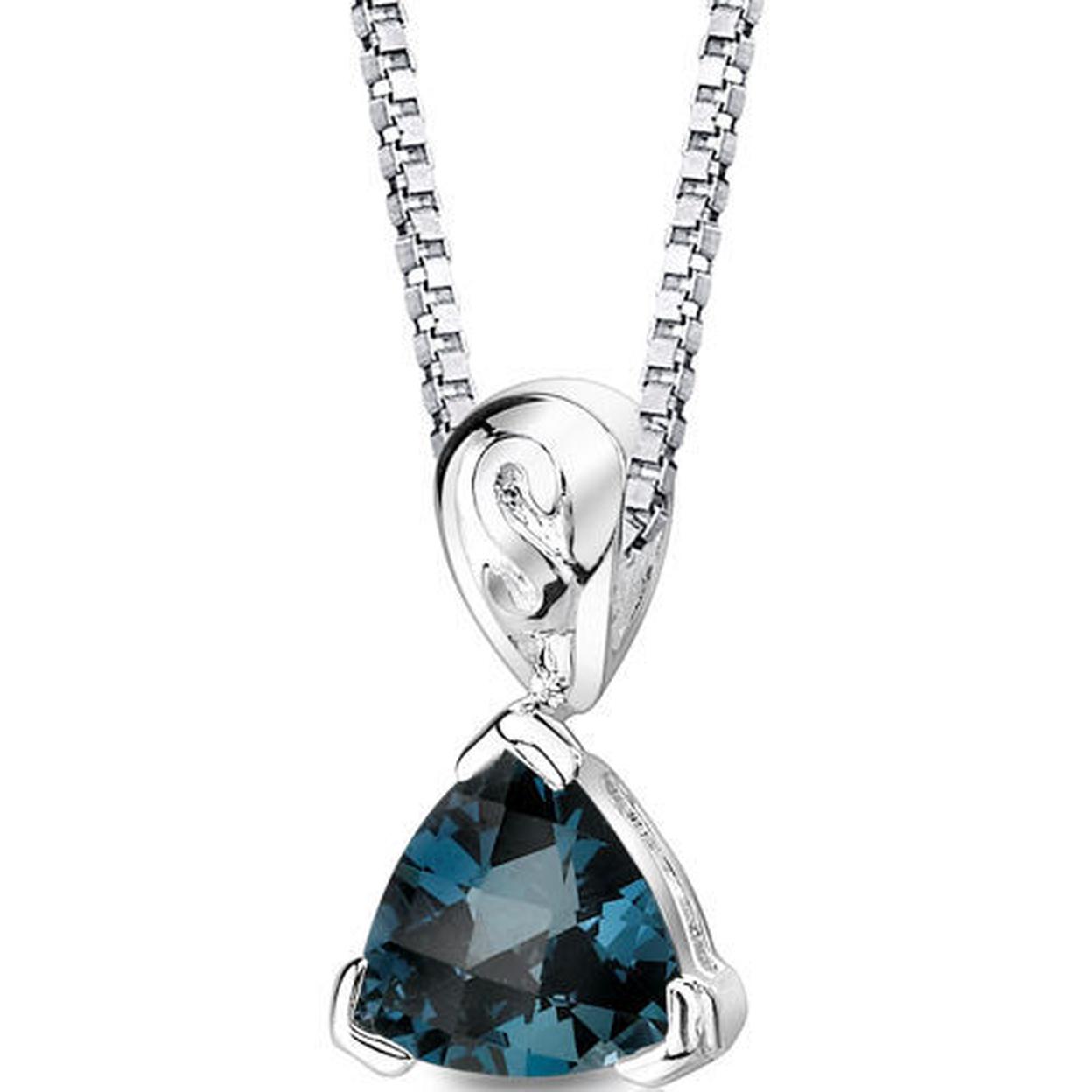 Sterling Silver 2.00 Carats Trillion London Blue Topaz Pendant Style Sp8596