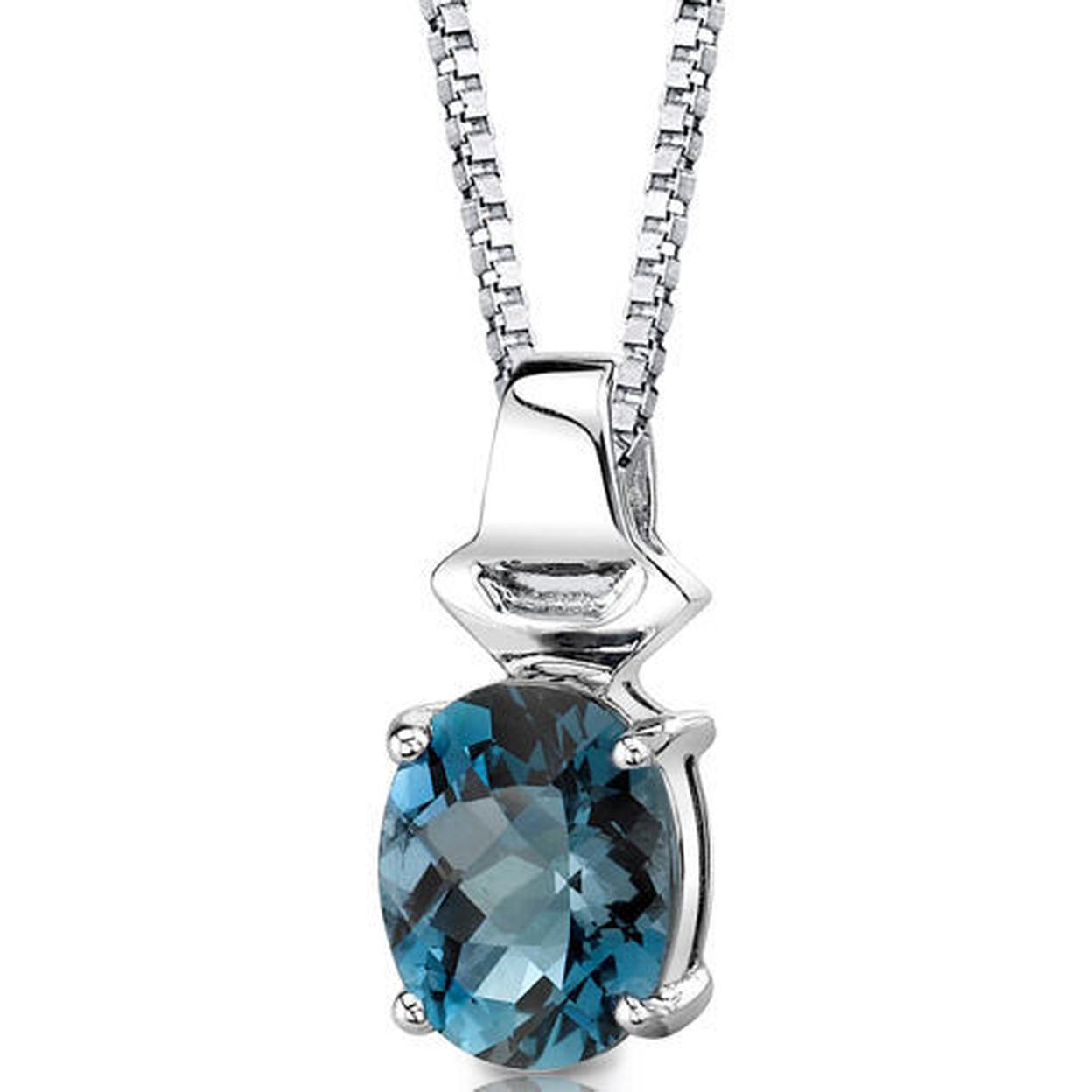 Sterling Silver 3.00 Carats Oval Shape London Blue Topaz Pendant Style Sp8626