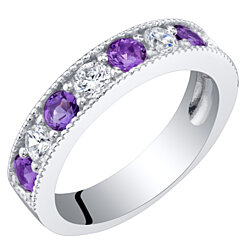 Sterling Silver Amethyst Milgrain Half Eternity Ring Band