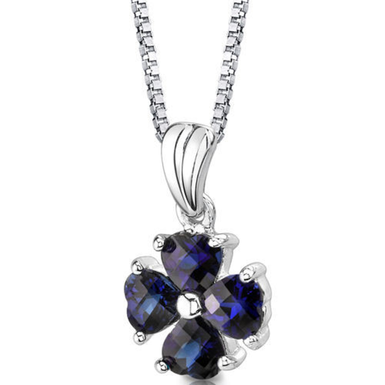 Sterling Silver Heart Shape Cut Blue Sapphire Pendant Style Sp8426