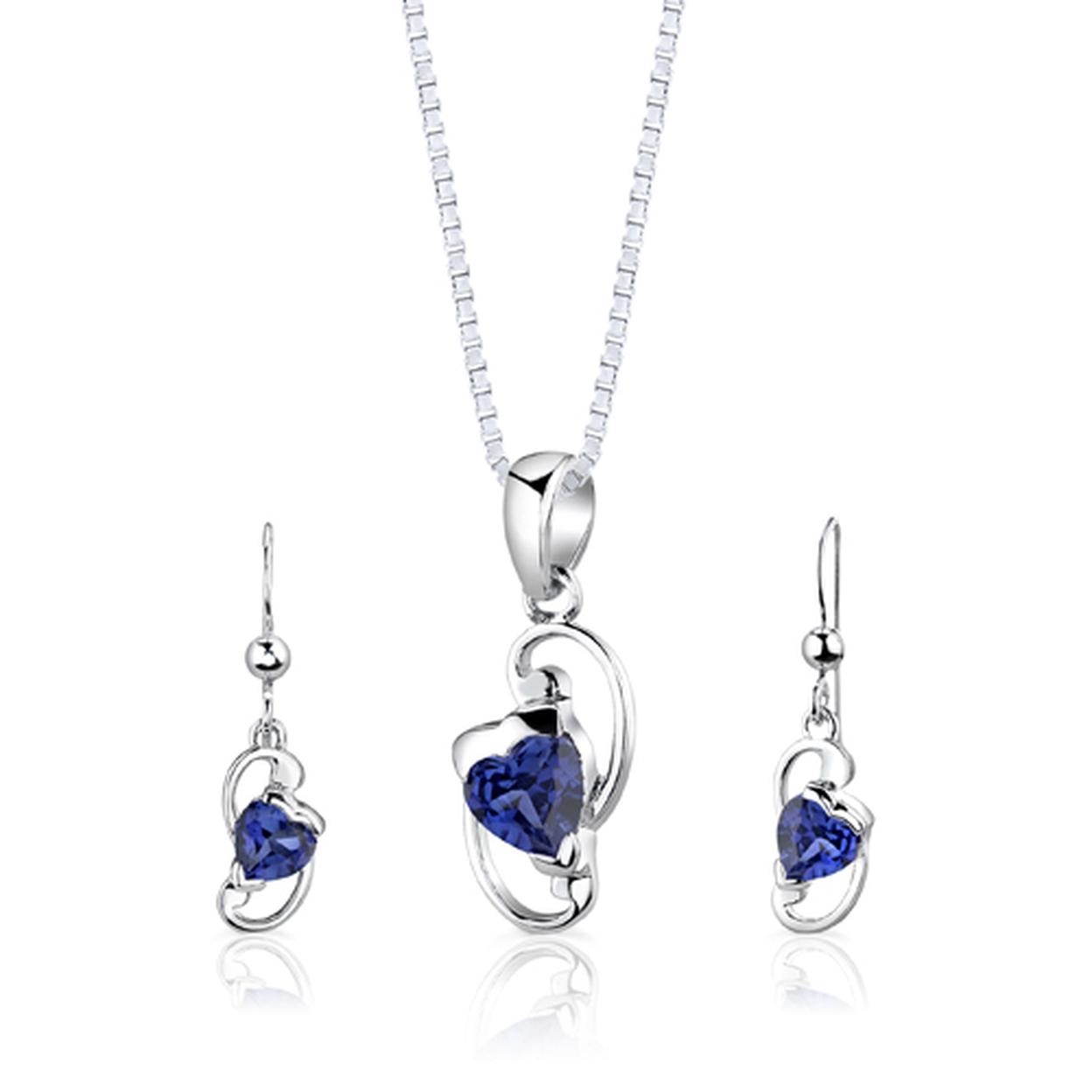 Sterling Silver Heart Shape Sapphire Pendant Earrings Set Style Ss2844