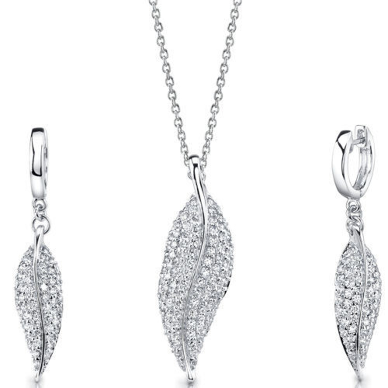 Sterling Silver Leaf Pendant Earrings Set With Cz Style Ss3110
