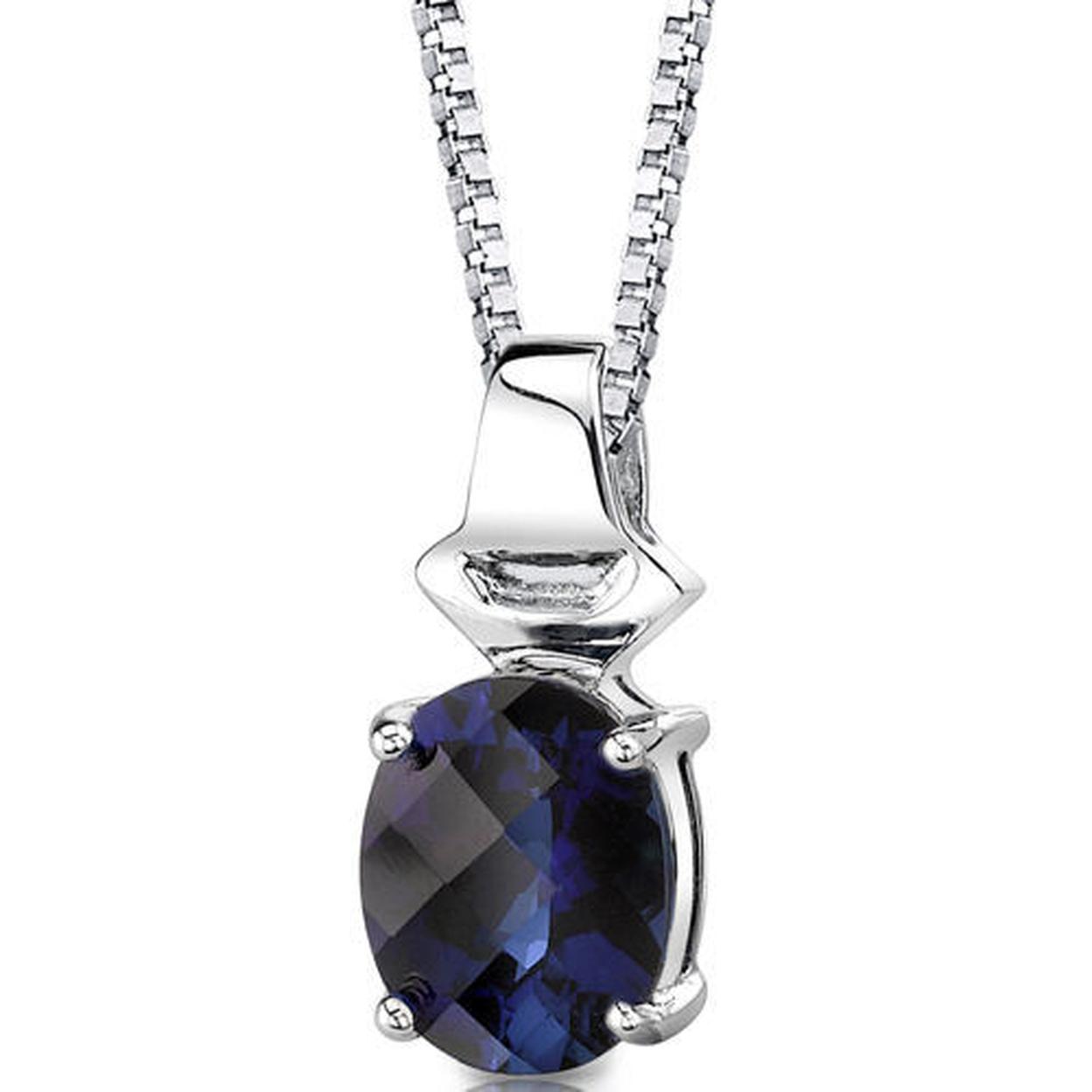Sterling Silver Oval Shape Cut Blue Sapphire Pendant Style Sp8344