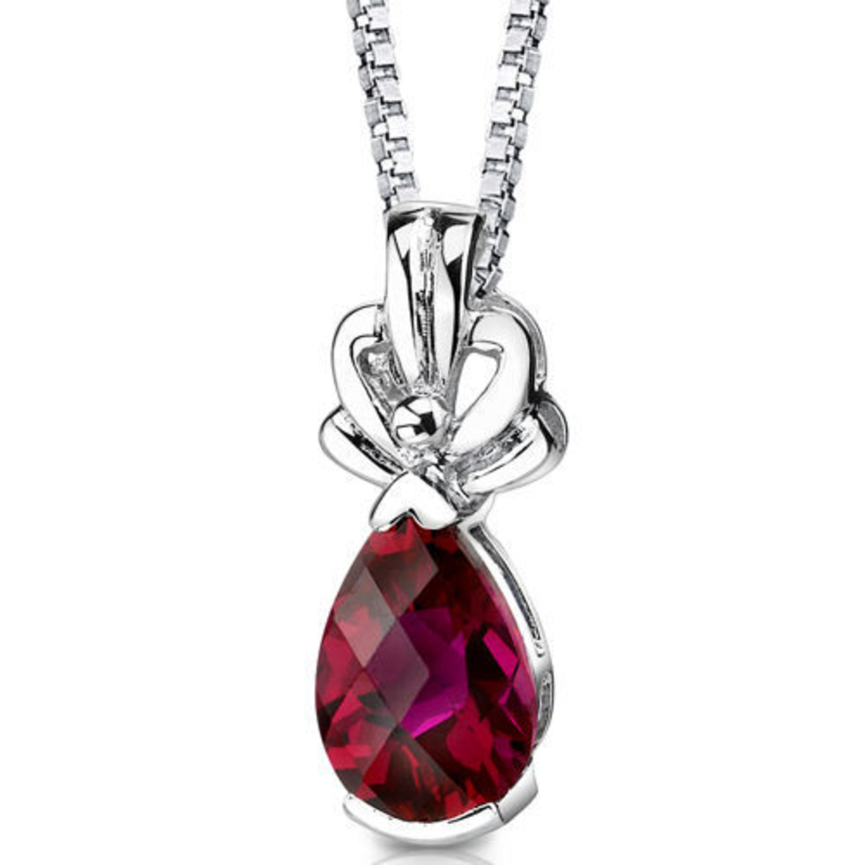 Sterling Silver Pear Shape Cut Ruby Pendant Style Sp8334