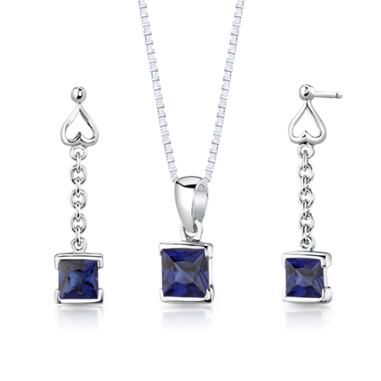 Sterling Silver Princess Cut Sapphire Pendant Earrings Set Style Ss2942