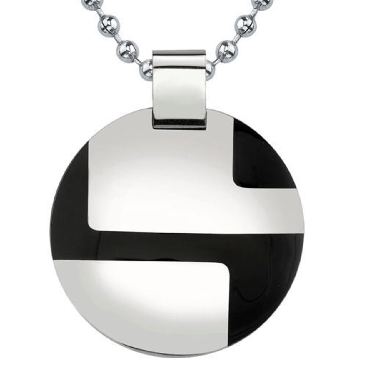 Surgical Stainless Steel Enamel-finish Disc Pendant on a Stainless Steel Ball Chain Style Sn8116 5388b3eb1b0ba013720000ba
