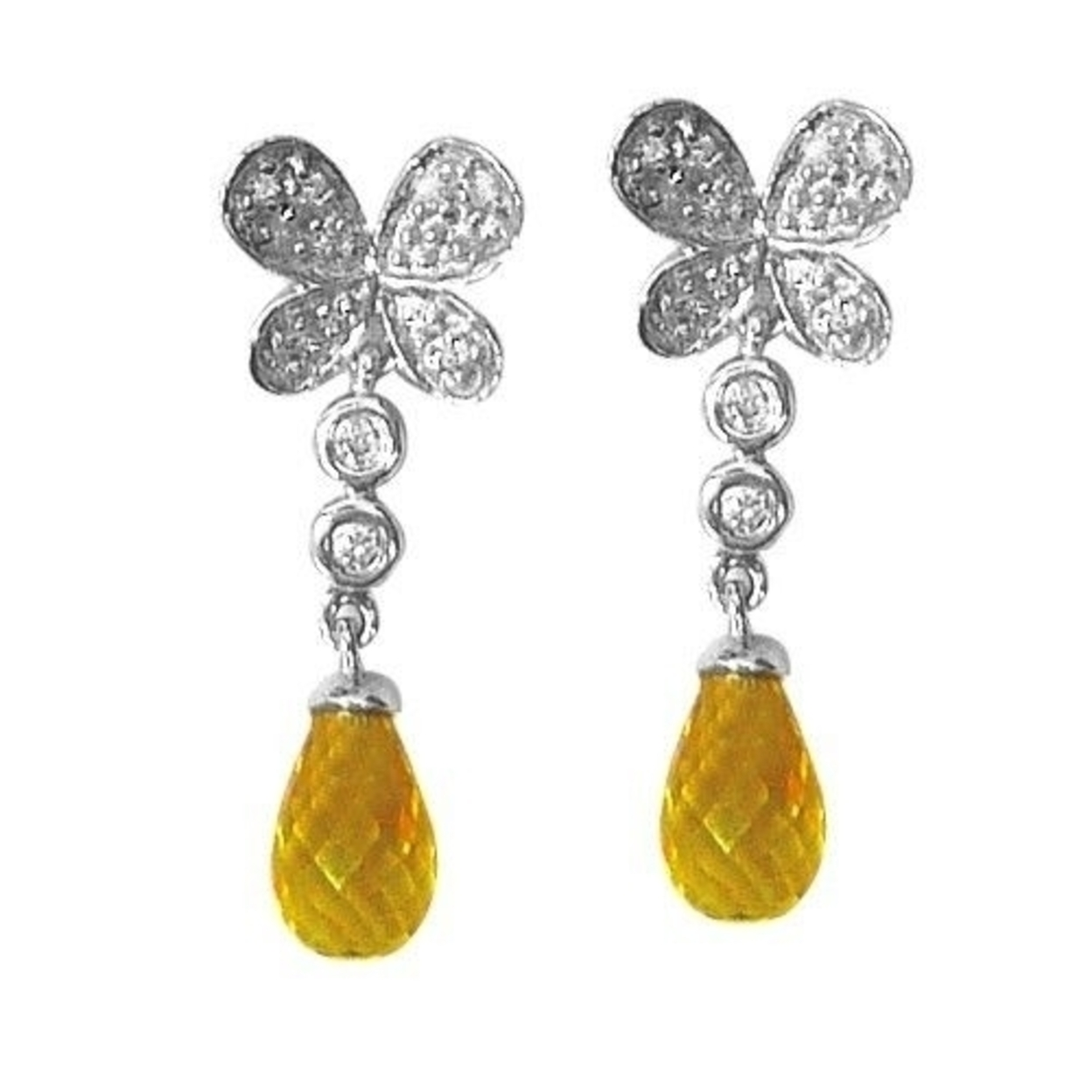 14k White Gold Butterfly Drop Earrings With Diamonds And A Citrine Stone