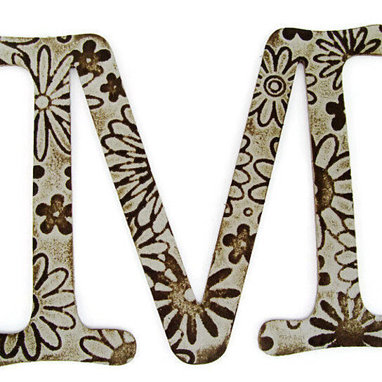 Buy chipboard letter m 4 inch embossed letter jeweled for Letter f decoration