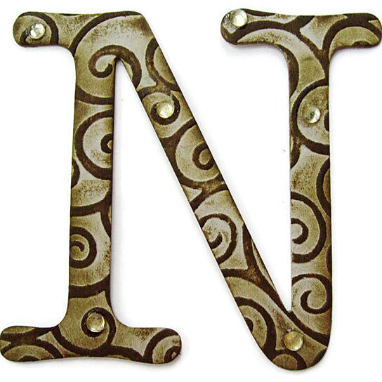 Buy chipboard letter n 4 inch embossed letter initials for Letter n decorations