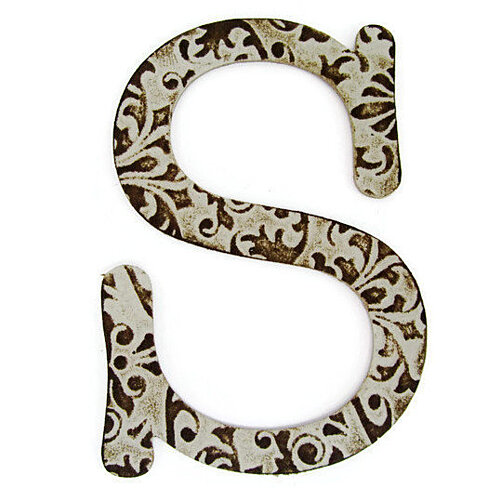 Chipboard letter s 4 inch embossed letter baby shower for Baby letter table for sale