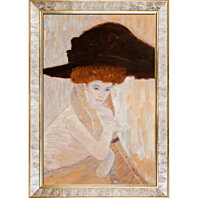 Gustav Klimt - Black Feather Hat (Framed)