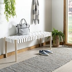 Amalia Leather Weave Bench White / Light Oak