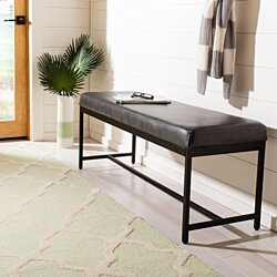 Chase Faux Leather Bench Grey / Black