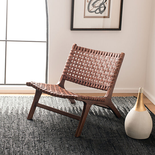 Superb Luna Leather Woven Accent Chair Brown Cognac Ibusinesslaw Wood Chair Design Ideas Ibusinesslaworg